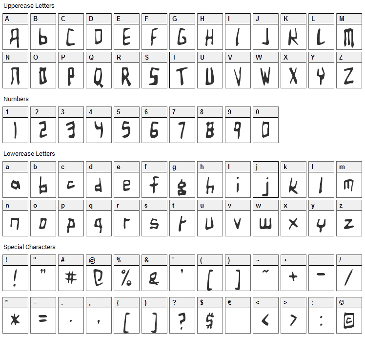 Birdland Aeroplane Font Character Map