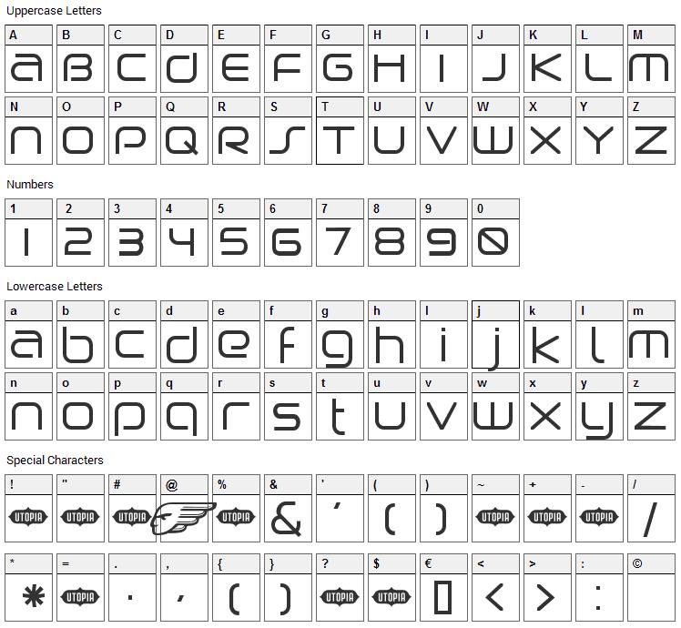 Birdman Font Character Map