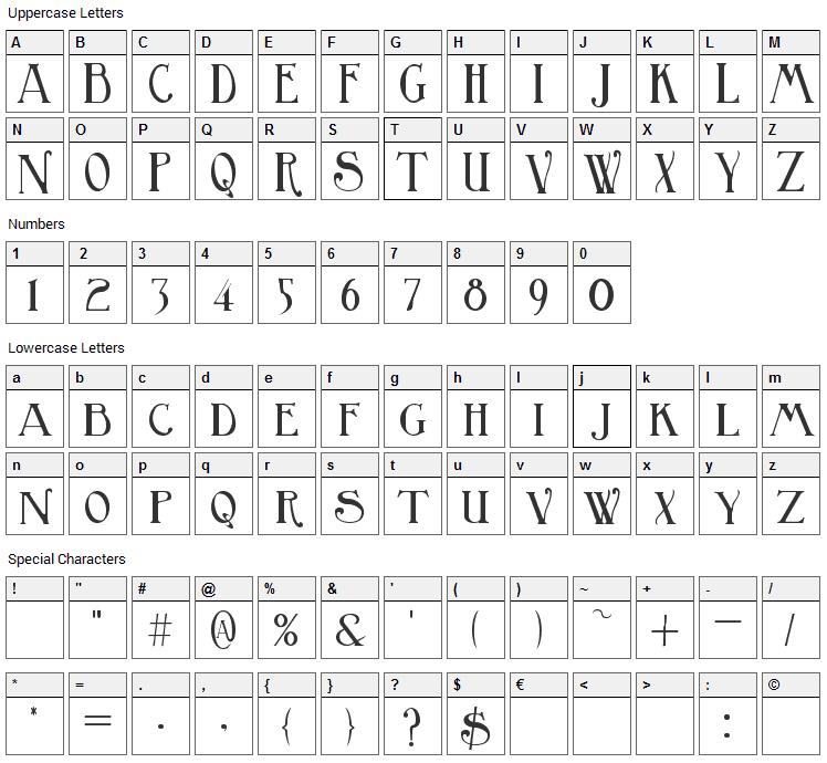 Birmingham Font Character Map
