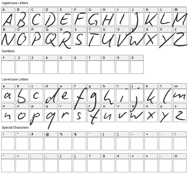 Biro Script Font Character Map