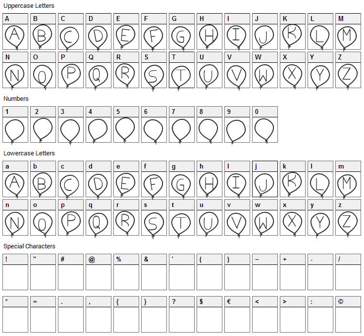 Birthday Balon Font Character Map