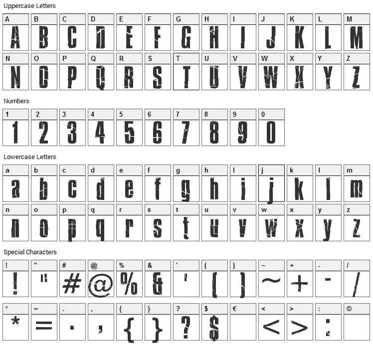 Bison Font Character Map