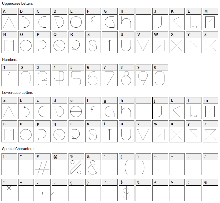 Bisurk Font Character Map