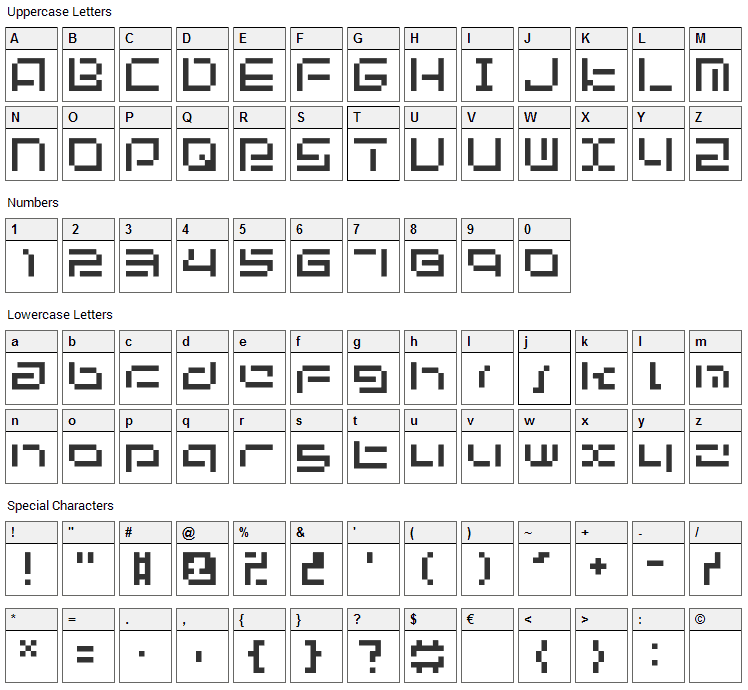 Bit-03: UrbanFluxer Font Character Map