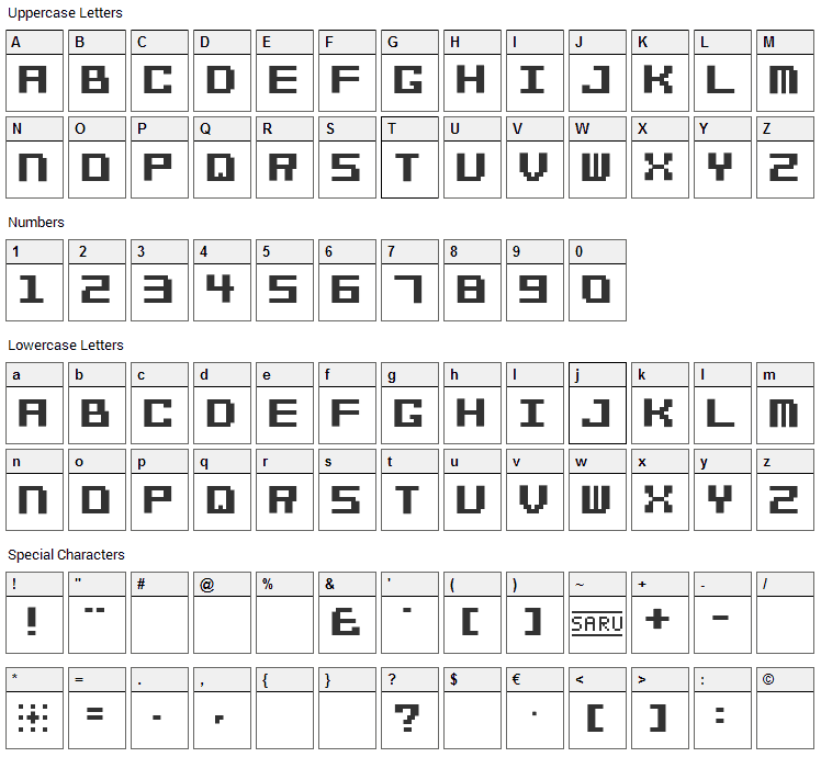 Bit Cheese 10 Font Character Map