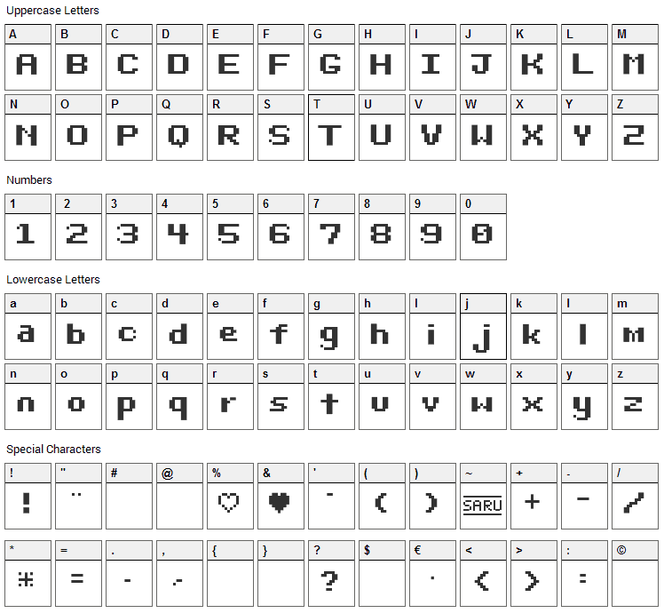 Bit Darling 10 Font Character Map