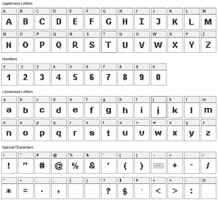 Bit Daylong 11 Font Character Map