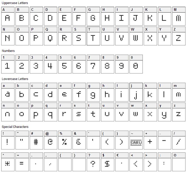 Bit Light 10 Font Character Map