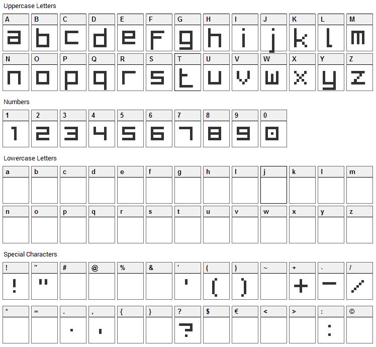 Bit Low Font Character Map