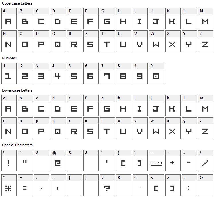 Bit Trip 7 Font Character Map
