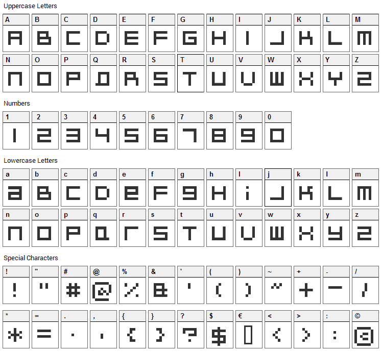 Bitdust Two Font Character Map