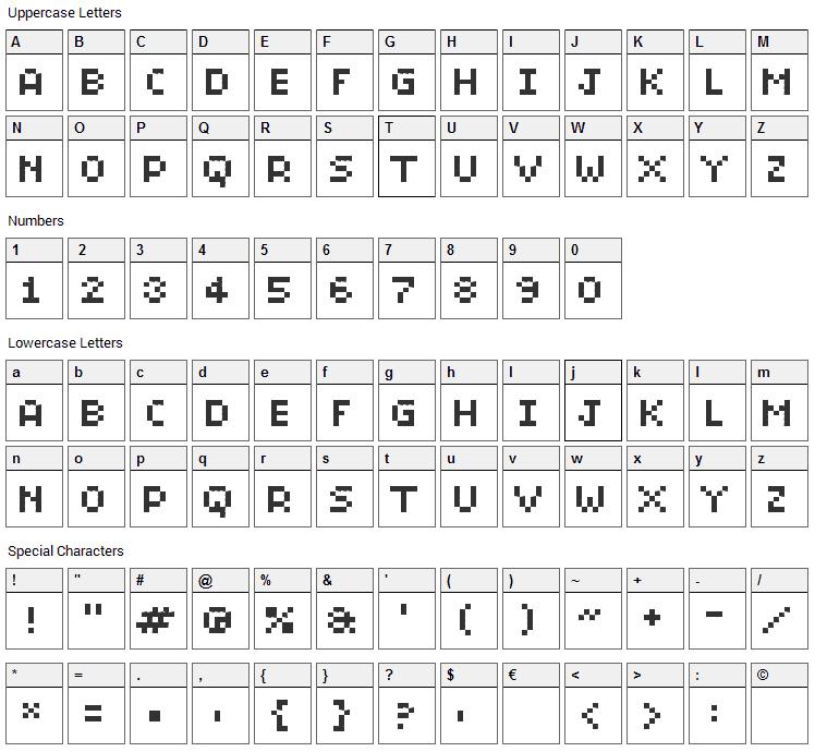 BitMicro01 Font Character Map