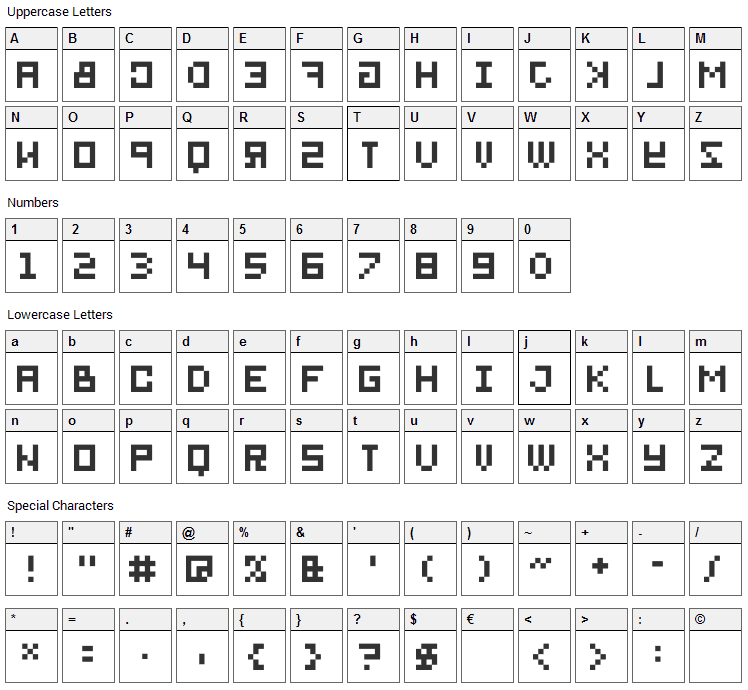 BitMirror Font Character Map
