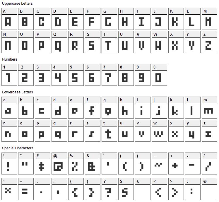 BitNanov33 Font Character Map