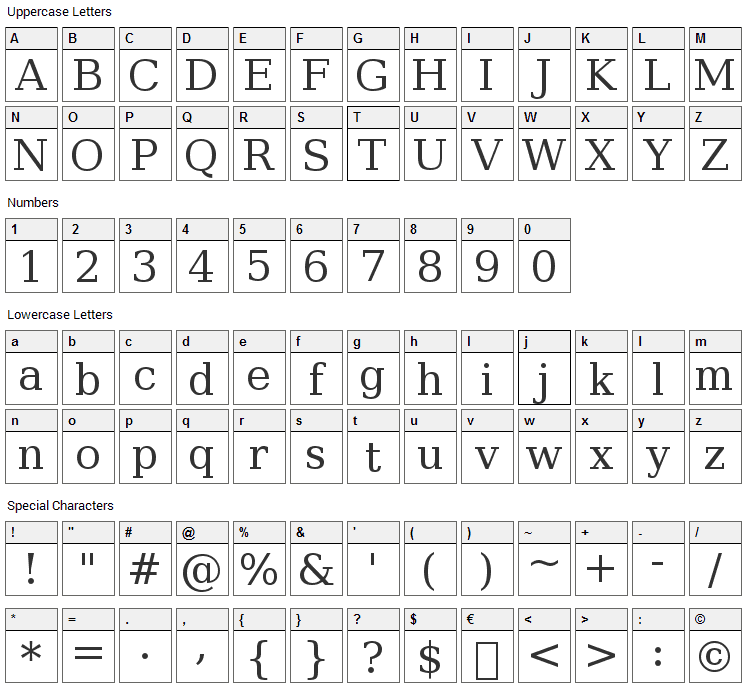 Bitstream Vera Serif Font Character Map