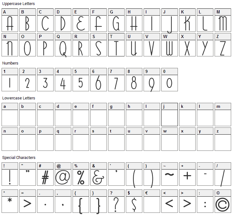 Bittersweet Font Character Map