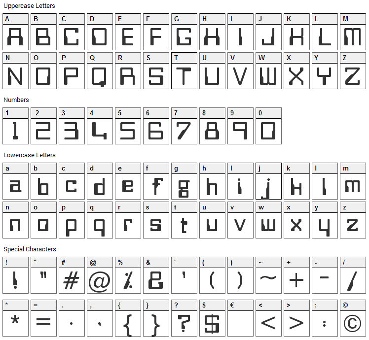 Bitwise Font Character Map