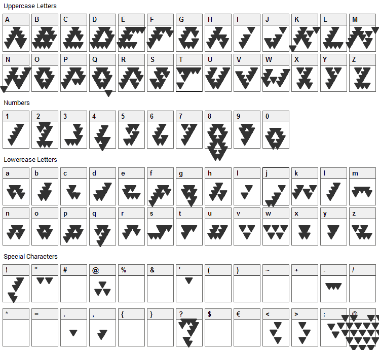 Bizar Loved Triangles Font Character Map