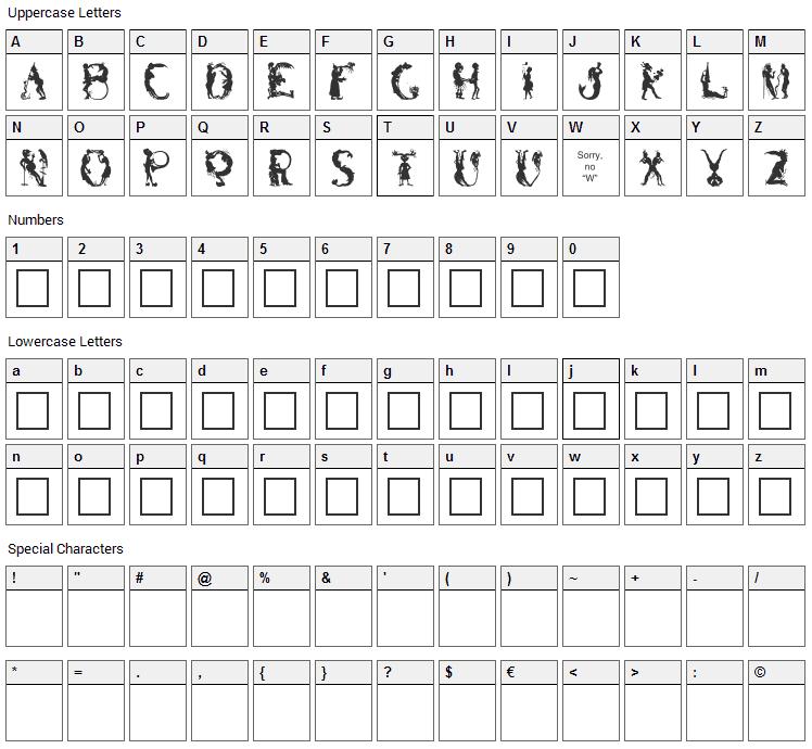 Bizaro Plain Font Character Map