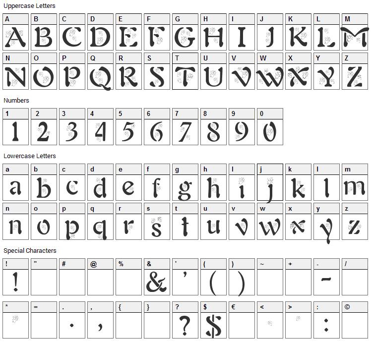BJF Angels Font Character Map