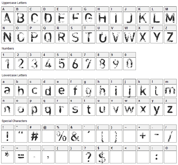 Blabloosy Font Character Map