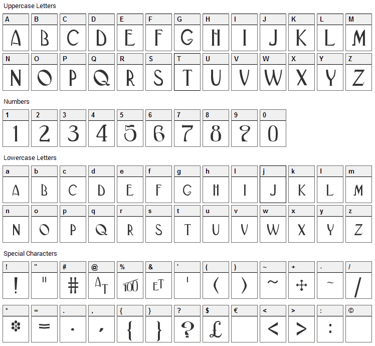 Black Adder II Font Character Map