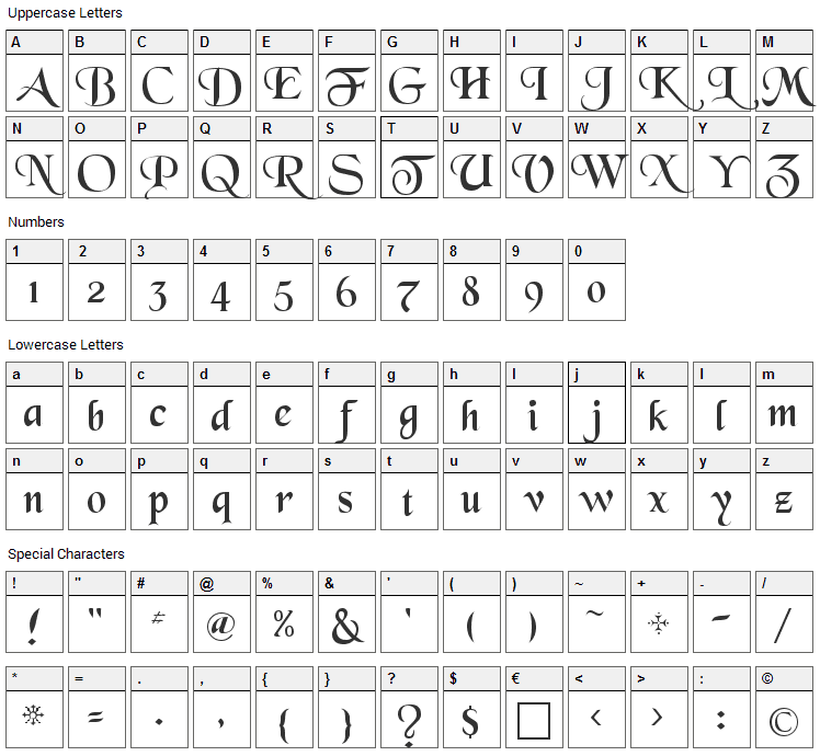 Black Chancery Font Character Map