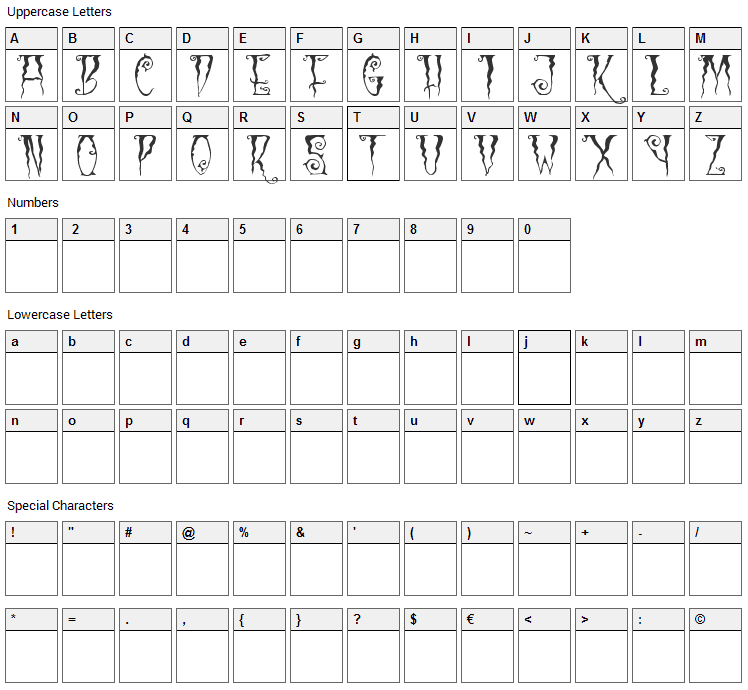 Black Cow Font Character Map