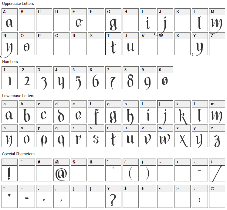Black Heart Inertia Font Character Map