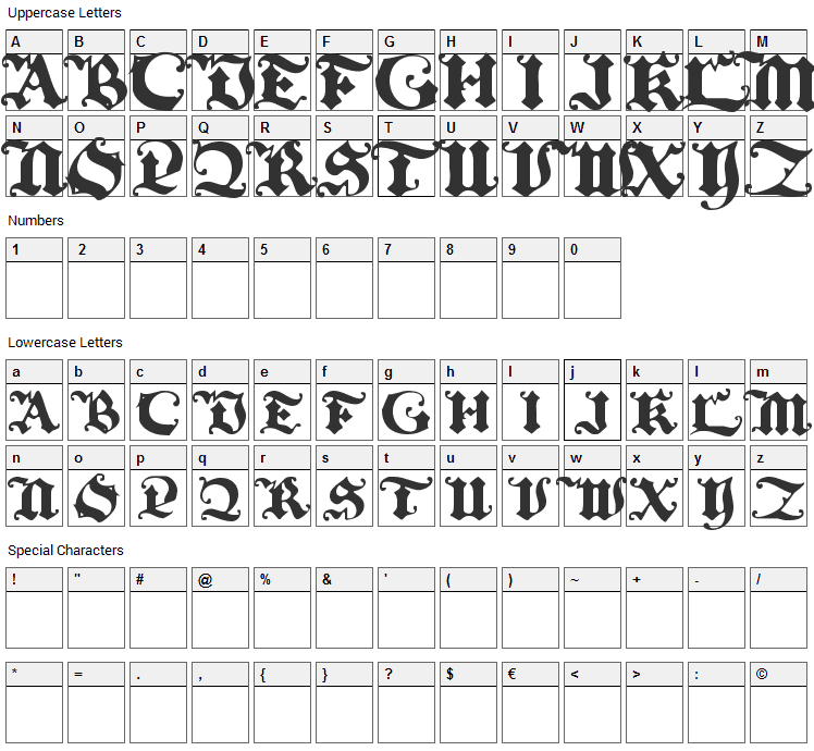 Black Initial Text Font Character Map