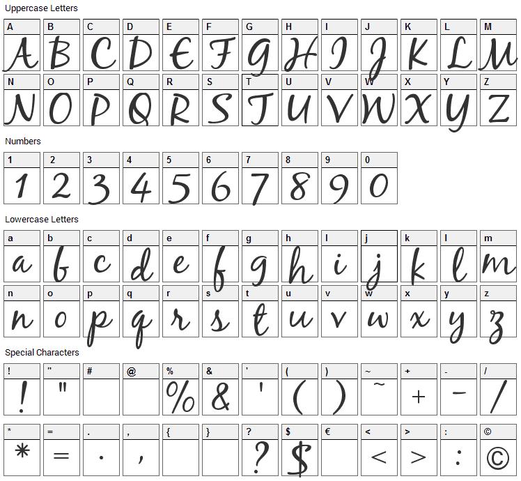 Black Jack Font Character Map