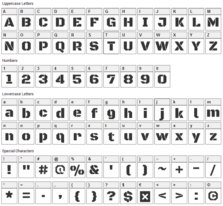 Black Ops One Font Character Map