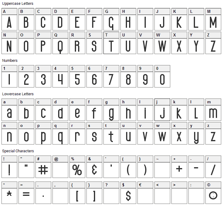 Black Spoon Font Character Map