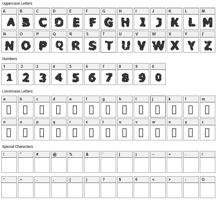 Blackfly Mambo Font Character Map
