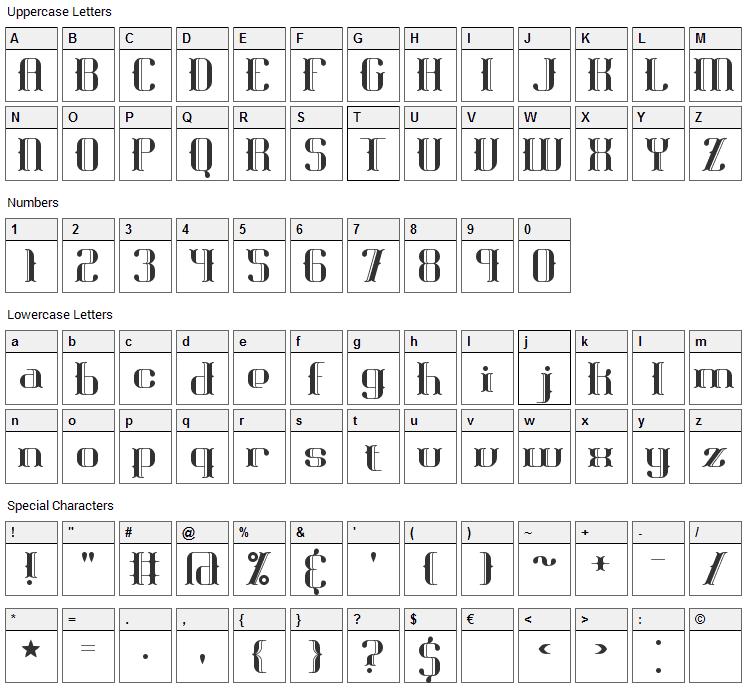 Blackoninaut Font Character Map