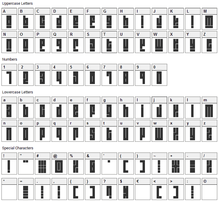 Blackout Font Character Map
