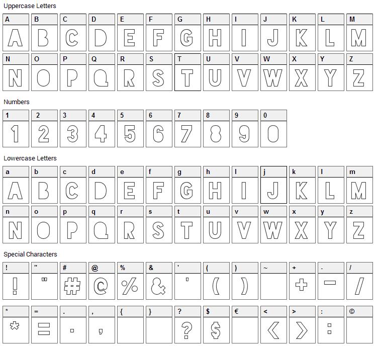 Blackout Sunrise Font Character Map