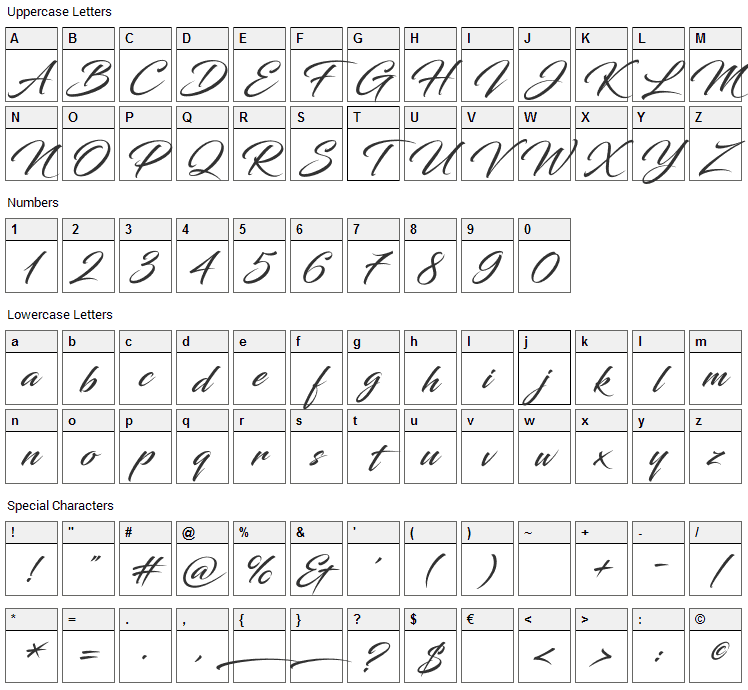 Blacksword Font Character Map