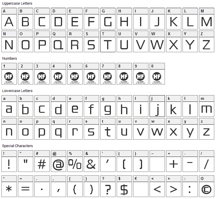 Blackthorns Font Character Map