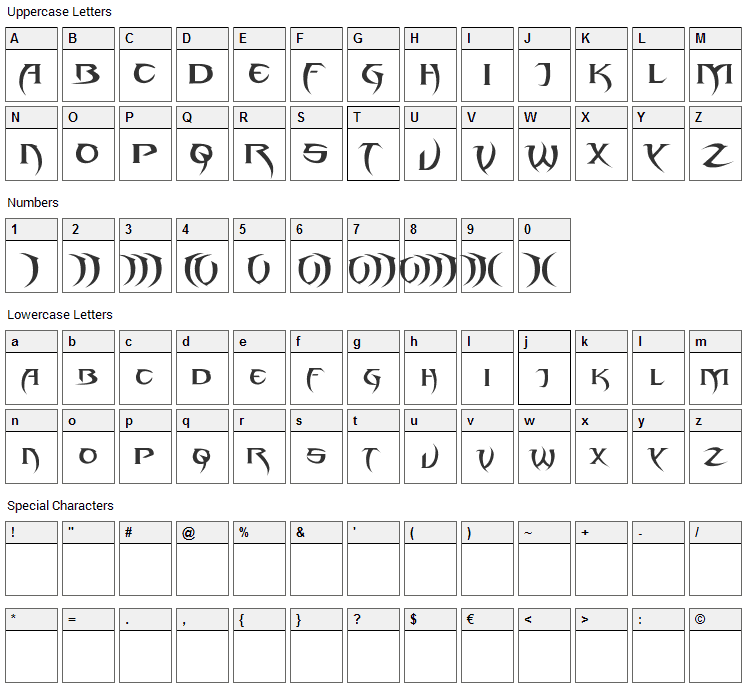 Blade 2 Font Character Map