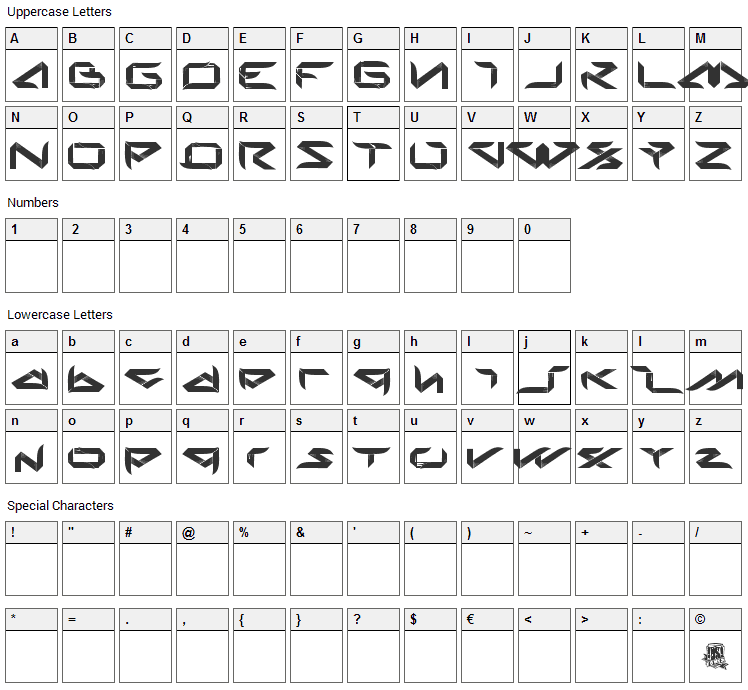 Bladeline Font Character Map