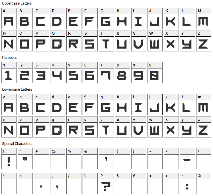 Blades GF Free Font Character Map