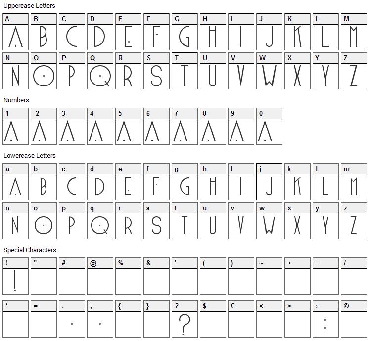 Blake Font Character Map