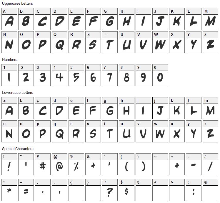 Blambot Custom Font Character Map