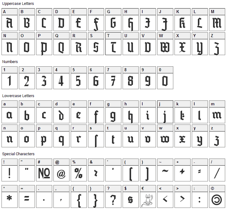 Blankenburg Font Character Map