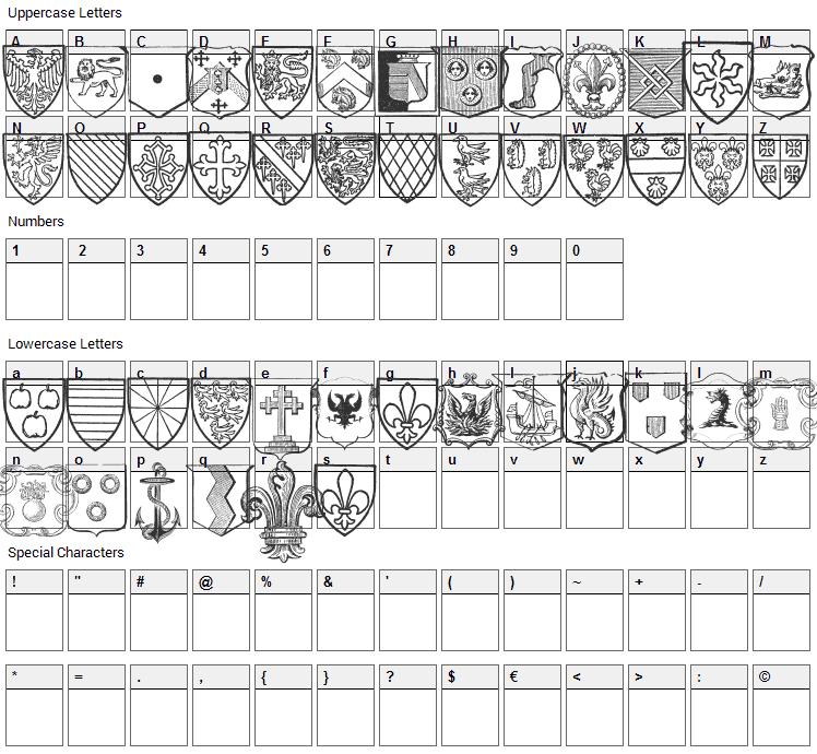 Blasons Free Font Character Map