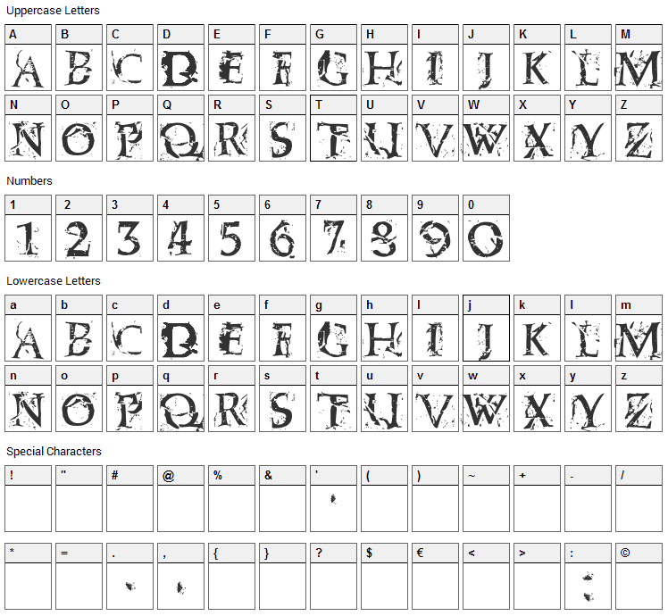 Blasphemy Font Character Map