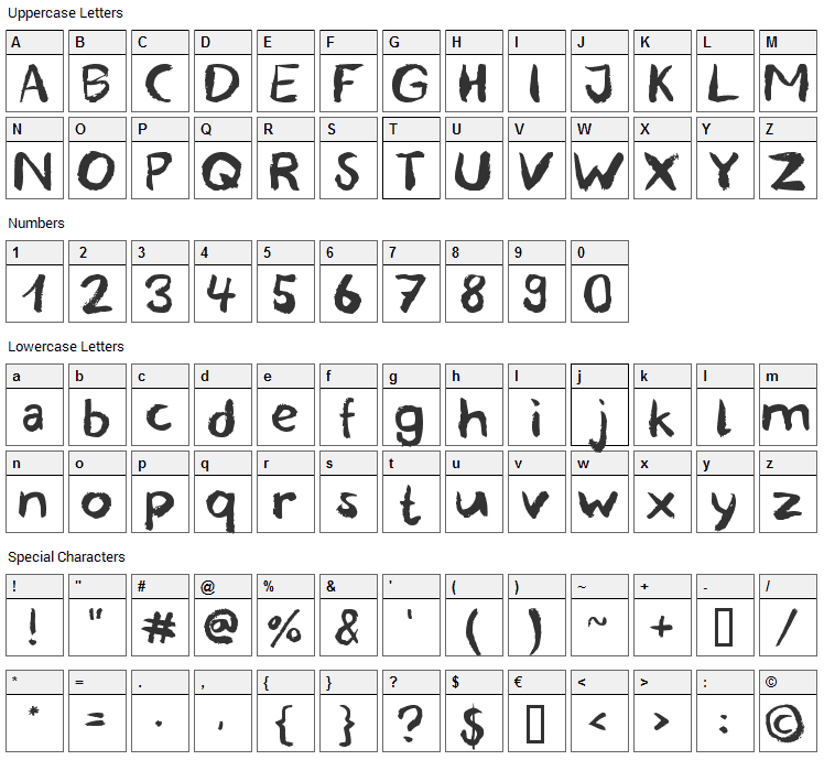Blemished Font Character Map