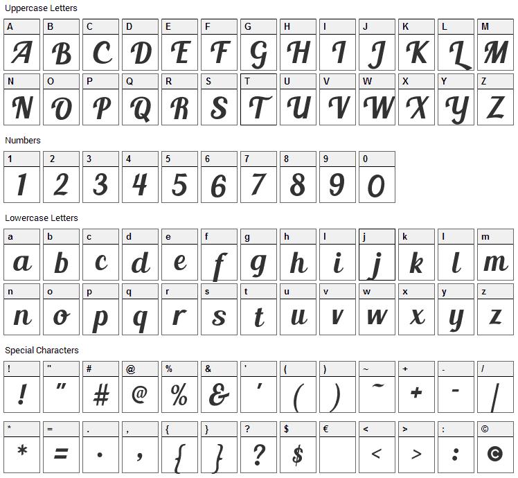 Blenda Script Font Character Map