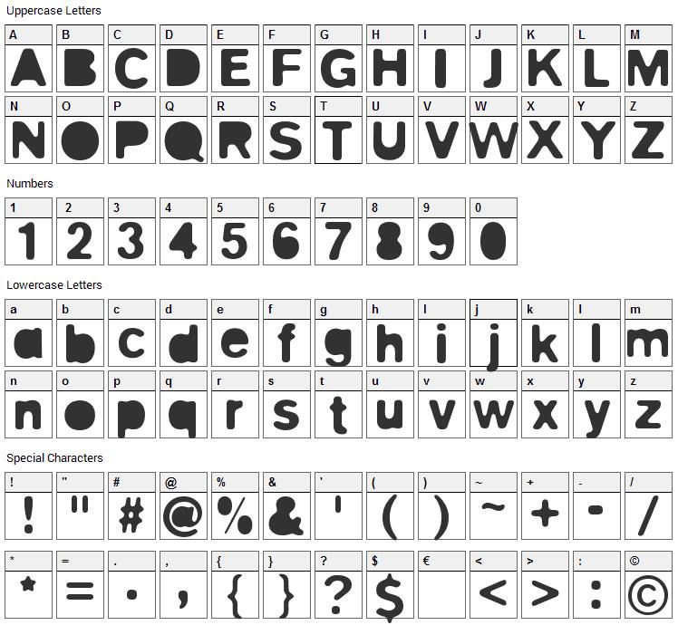 Blitz Font Character Map